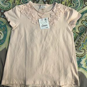 Zara Girls Pink Tee Neck Applique S 7 Top NWT